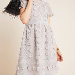 Anthropologie Bonita Textured Mini Dress Gray 6P